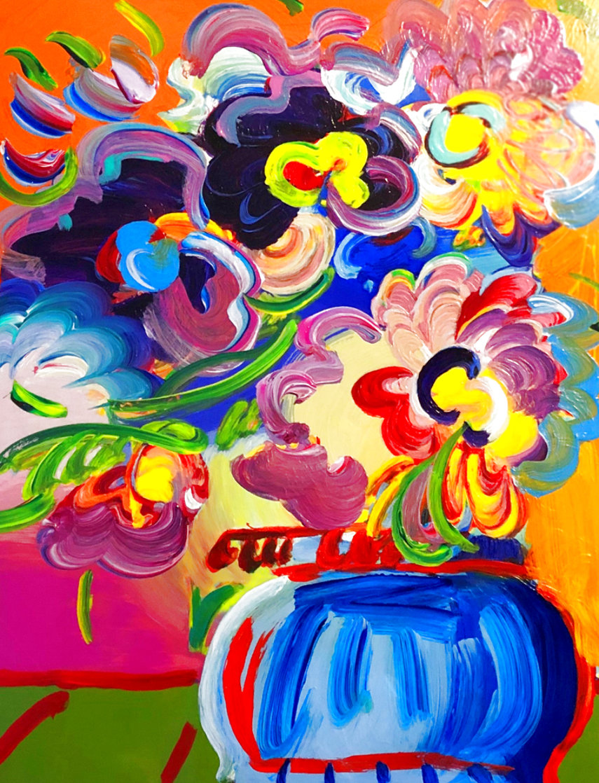 Vase of Flowers Unique 2017 33x30 Heavy Embellishment Works on Paper (not prints) by Peter Max