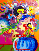 Vase of Flowers Unique 2017 33x30 Heavy Embellishment Works on Paper (not prints) by Peter Max - 0