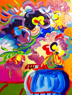 Vase of Flowers Unique 2017 33x30 Heavy Embellishment Works on Paper (not prints) - Peter Max
