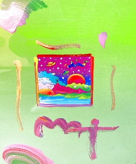 Cosmic Sunset Unique 17x15 Original Painting - Peter Max