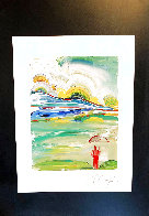 Umbrella Man At Sunrise Limited Edition Print by Peter Max - 1
