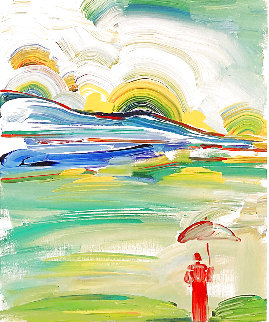 Umbrella Man At Sunrise Limited Edition Print - Peter Max