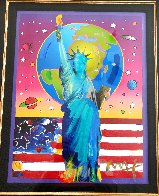 Liberty With Earth And Flag Unique 2006 34x30 Works on Paper (not prints) by Peter Max - 1