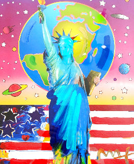 Liberty With Earth And Flag Unique 2006 34x30 Works on Paper (not prints) - Peter Max