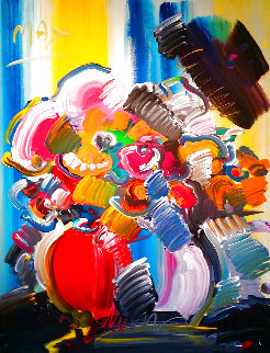 Abstract Flowers 1989 40x30 Original Painting - Peter Max
