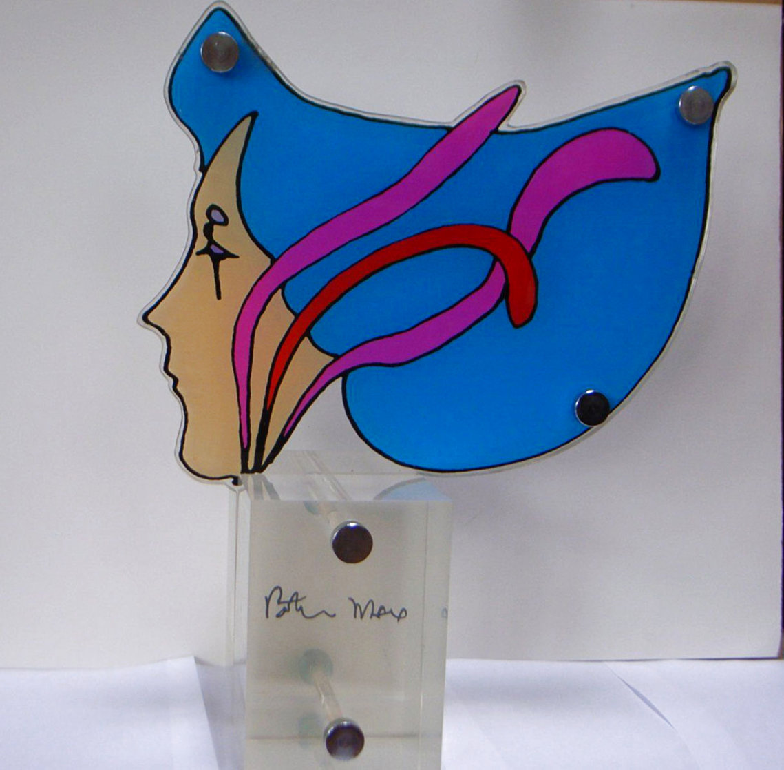 Untitled Profile Hand Painted Sculpture Rare 1970 Sculpture by Peter Max