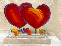 Two Hearts Ver. II Acrylic Sculpture Unique 2014 16 in Sculpture by Peter Max - 1