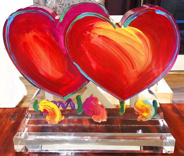 Two Hearts Ver. II Acrylic Sculpture Unique 2014 16 in Sculpture by Peter Max