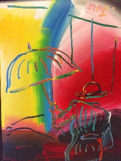Umbrella Man Fauve II 1988 Eastern European Museum Tour 1991 Original Painting - Peter Max