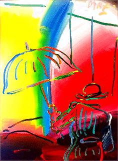 Umbrella Man Fauve II Unique 1988 27x21 Original Painting - Peter Max