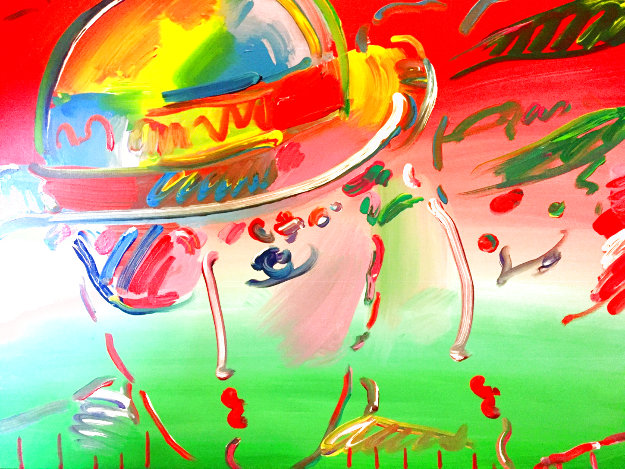 Zero and Profile III Unique 1990 29x35 Original Painting by Peter Max
