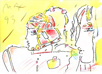 Lady and Profile Set of Two Original Ink and Color Pencil 1993 20x22 Original Painting - Peter Max