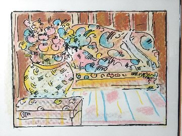 Lady on Couch With Vase Vintage 32 x 37 in 1979 Limited Edition Print - Peter Max