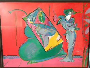 Lady on Red (With Floating Vase) 1988 Limited Edition Print - Peter Max