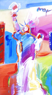 Statue of Liberty Unique 2001 49x30  Huge Works on Paper (not prints) - Peter Max