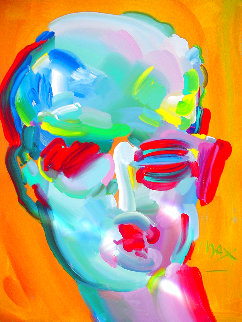 Neo Man 1989, 48x36 Super Huge Original Painting - Peter Max