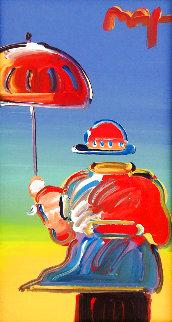 Umbrella Man Unique 2012 12x6 Original Painting - Peter Max