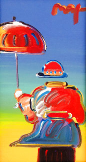 Umbrella Man  2012 12x6 Original Painting - Peter Max