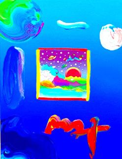 Cosmic Runner Unique 25x21 Original Painting - Peter Max