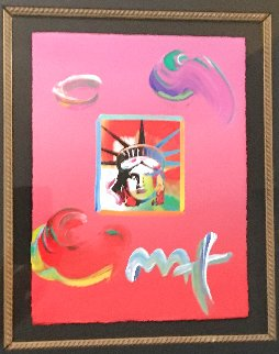 Liberty Head Unique 2009 27x25 Set of 2 Works on Paper (not prints) - Peter Max