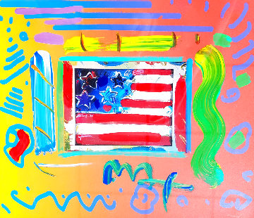 Flag With Heart Unique 26x24 Works on Paper (not prints) - Peter Max