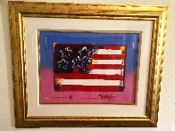 Flag With Heart Unique 1999 18x24 Works on Paper (not prints) by Peter Max - 1