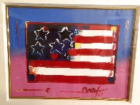 Flag With Heart Unique 1999 18x24 Works on Paper (not prints) by Peter Max - 2