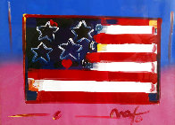 Flag With Heart Unique 1999 18x24 Works on Paper (not prints) by Peter Max - 0