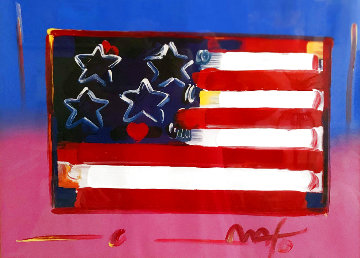 Flag With Heart Unique 1999 18x24 Works on Paper (not prints) - Peter Max