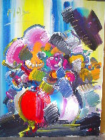 Vase in a Striped Room 1989 36x40 Original Painting by Peter Max - 1