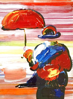 Umbrella Man on Blends Unique 2005 25x23 Works on Paper (not prints) - Peter Max