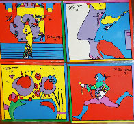 Atlantis Suite of 4 Vintage Mixed Media Prints Unique, 1971  Embellished Limited Edition Print by Peter Max - 4
