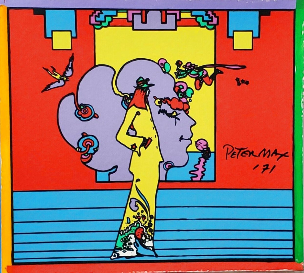 Atlantis Suite of 4 Vintage Mixed Media Prints Unique, 1971  Embellished Limited Edition Print by Peter Max