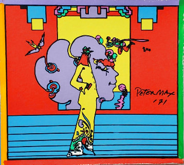 Atlantis Suite of 4 Mixed Media Prints Unique, 1971  Embellished Limited Edition Print - Peter Max