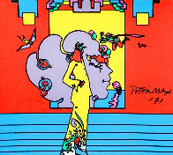 Atlantis Suite of 4 Mixed Media Prints Unique, 1971  Embellished Limited Edition Print by Peter Max - 5