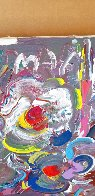 Flower Abstract  1989 30x20 Original Painting by Peter Max - 2