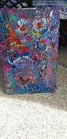 Flower Abstract  1989 30x20 Original Painting by Peter Max - 1