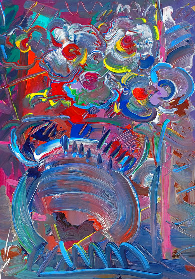 Flower Abstract  1989 30x20 Original Painting by Peter Max