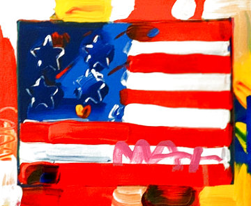 Flag With Hearts Unique 2005 24x24 Works on Paper (not prints) - Peter Max