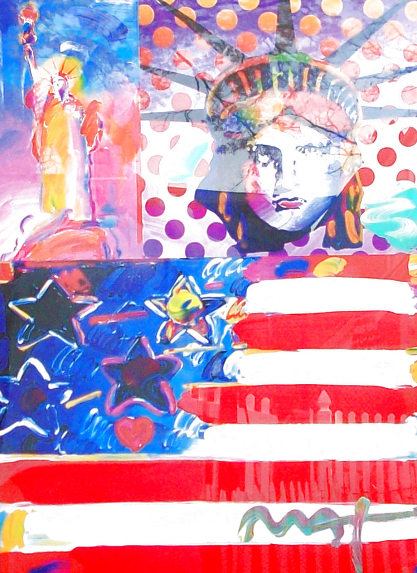 God Bless America II 2001 39x33 Works on Paper (not prints) by Peter Max