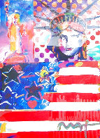 God Bless America II 2001 39x33 Works on Paper (not prints) by Peter Max - 0