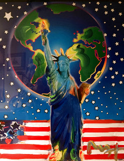 Peace of Earth Unique 2001 39x33 Huge Works on Paper (not prints) - Peter Max