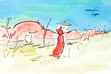 Umbrella Man Watercolor  1990 18x22 Watercolor - Peter Max
