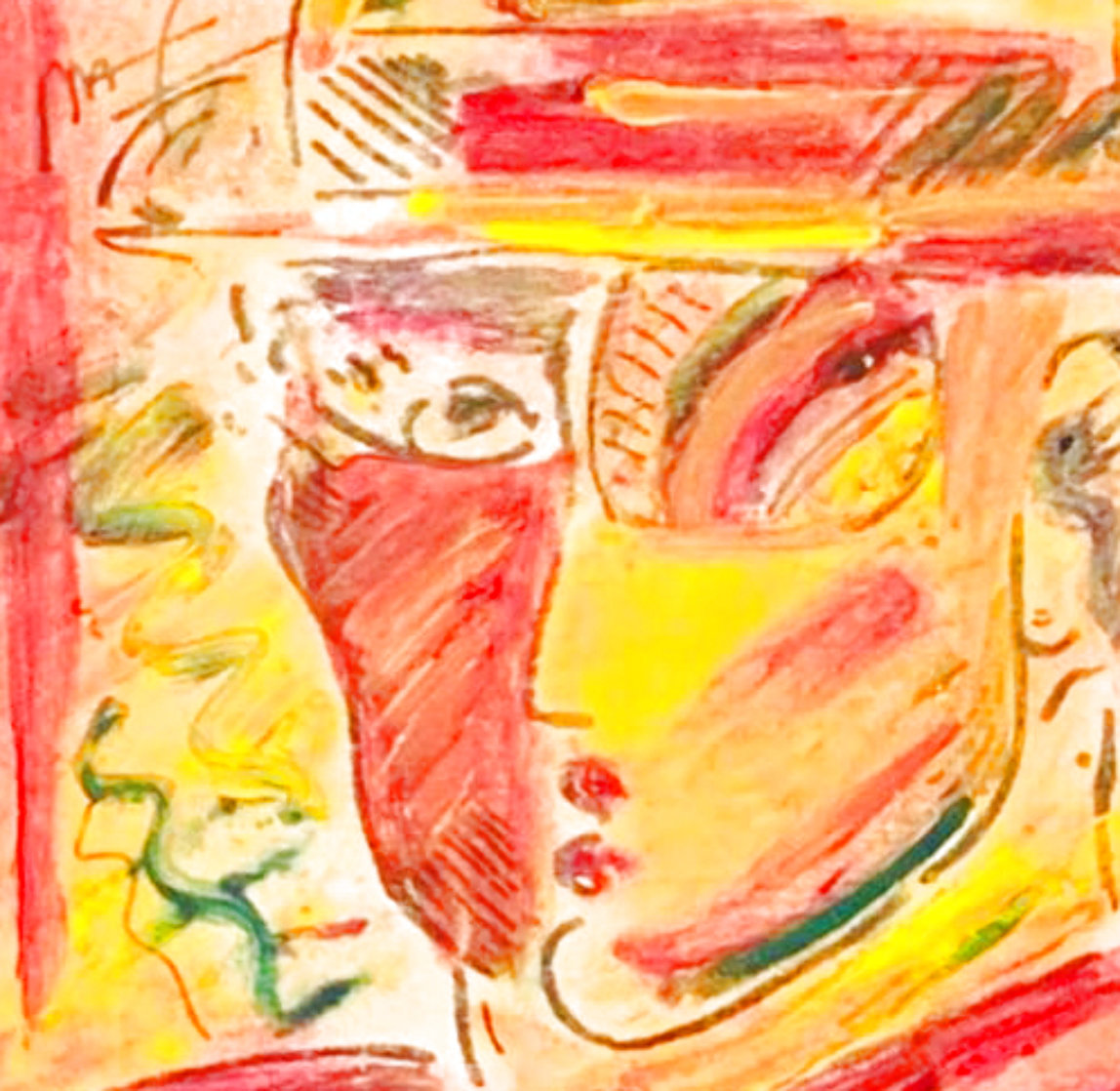 Profile 1988 12x18 Original Painting by Peter Max