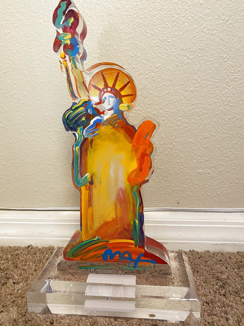 Statue of Liberty IX Acrylic Sculpture Unique 2017 12 in Sculpture by Peter Max