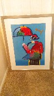 Umbrella Man Unique 43x33  Huge Works on Paper (not prints) by Peter Max - 11