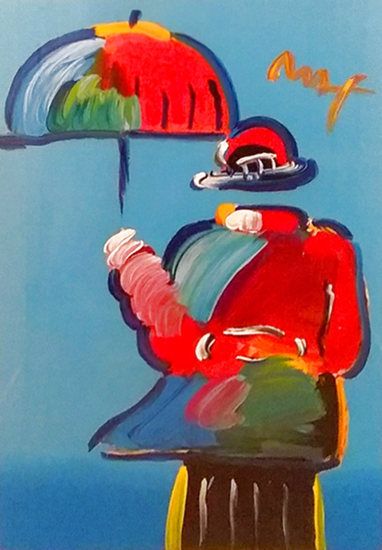 Umbrella Man Unique 43x33  Huge Works on Paper (not prints) by Peter Max