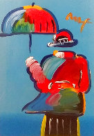 Umbrella Man Unique 43x33  Huge Works on Paper (not prints) by Peter Max - 0