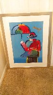 Umbrella Man Unique 43x33  Huge Works on Paper (not prints) by Peter Max - 1