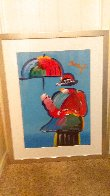 Umbrella Man Unique 43x33  Huge Works on Paper (not prints) by Peter Max - 4